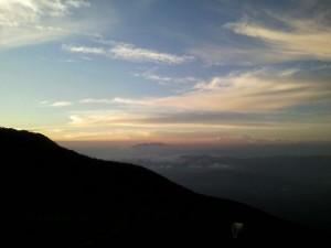 5合目付近からの夕焼け雲海